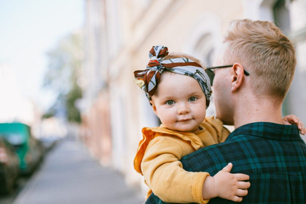 Adorable baby with father