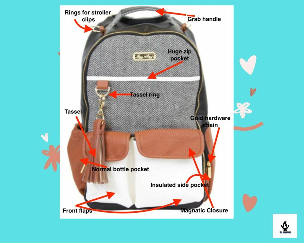 itzy ritzy baby diaper bag with main features