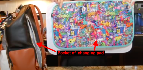 pocket for the changing pad is a special feature of this bag
