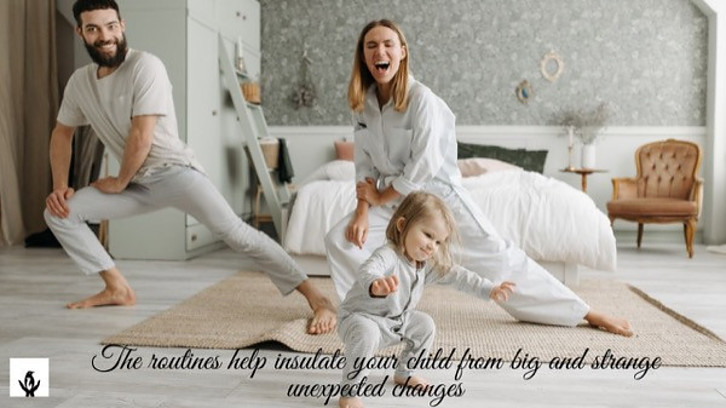 A good cooperation with family members is a main thing in child behaviors.This child is dancing with family members.